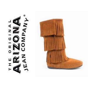 Brown Calf Hi 3-Layer Fringe Boot by Arizona Co.